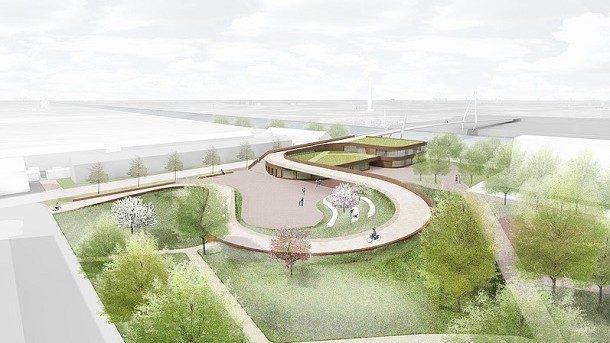 (видео) Новый мост в Голландии имеет два предназначения: велодорожка и зеленая крыша для школы