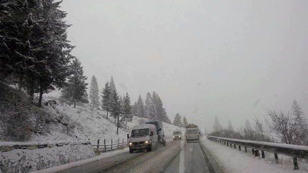 (фото) Снегопад в августе. В одном из уездов Румынии слой снега достиг 3 сантиметров