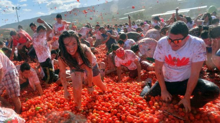 (фото) #latomatina или как проходят томатные бои в Испании