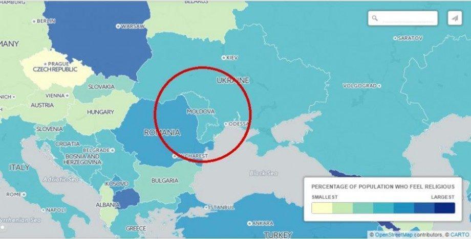(интерактивная карта) Топ самых религиозных стран в мире. Какое место заняла Молдова