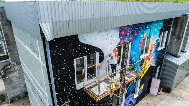 (фото, видео) В столичном секторе Ботаника появился новый мурал на стене от художницы IZZY IZVNE