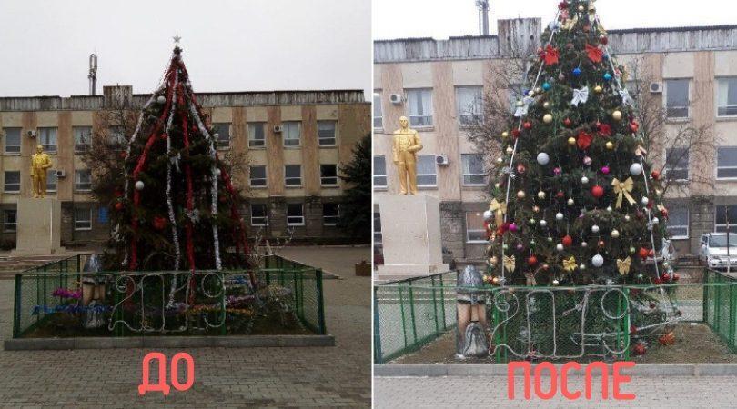 """(фото) Власти Чадыр-Лунги """"украсили"""" тяп-ляп ёлку, а жителям города не понравилось. Решили скинуться и нарядить по правилам городскую красавицу"""