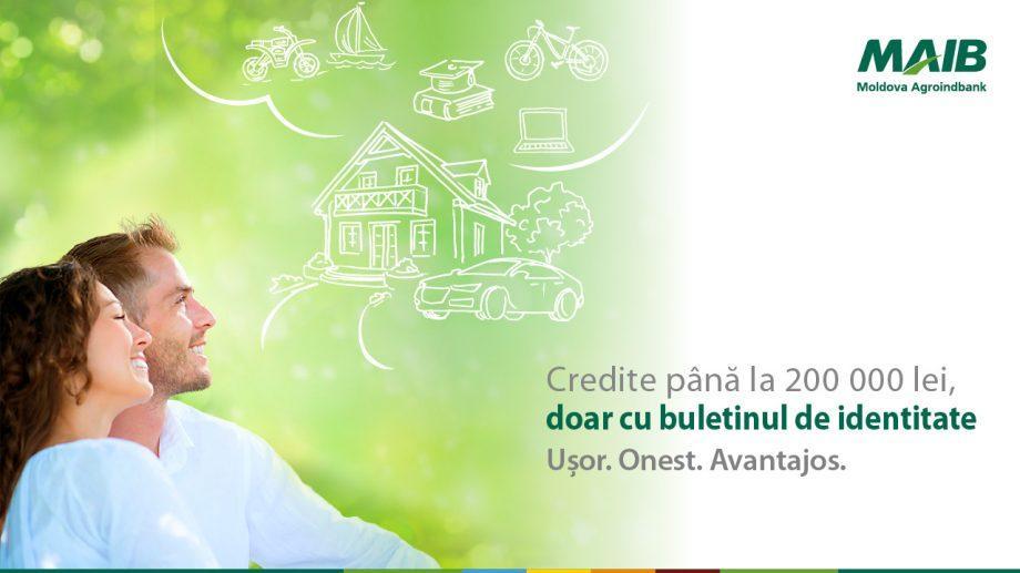 Moldova Agroindbank предоставляет кредиты до 200 000 леев, только при наличии удостоверения личности
