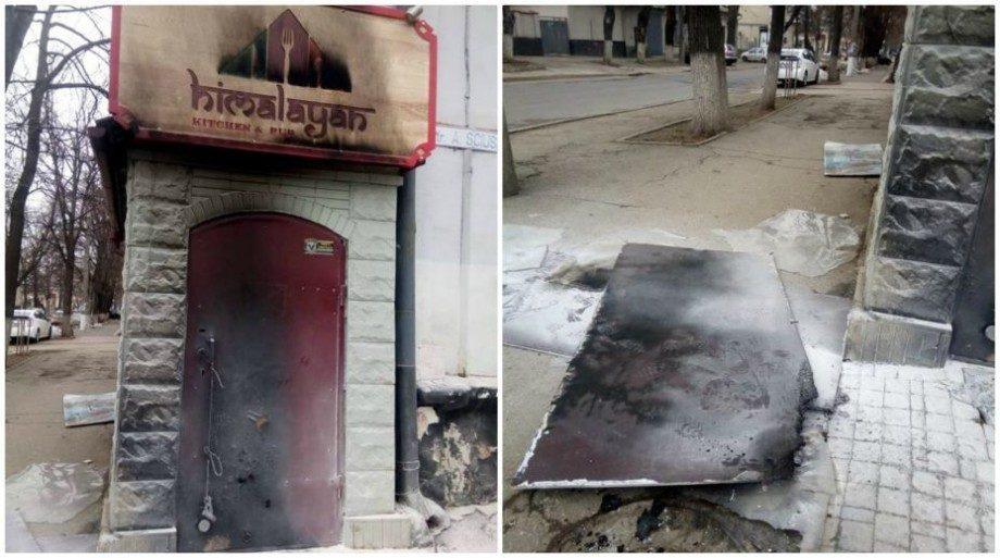 (фото) В центре Кишинэу, неизвестный поджёг двери непальского ресторана. Это произошло после первого дня открытия