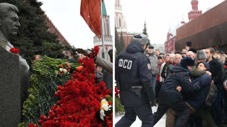 (фото, видео) Активист бросил в бюст Сталина гвоздики и крикнул «Гори в аду убийца женщин и детей»