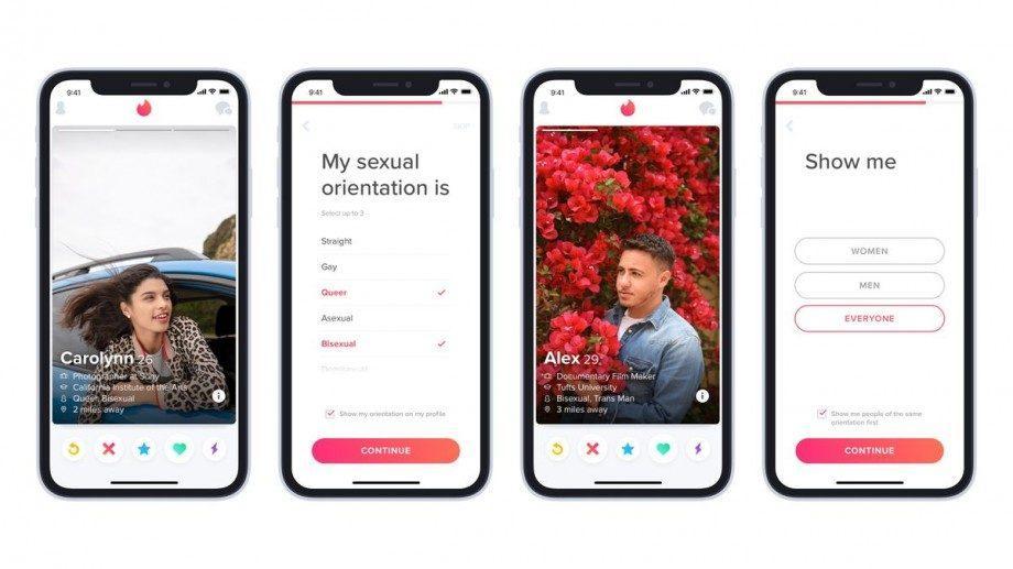 Tinder позволит пользователям выбрать в профиле один из девяти сексуальных ориентаций