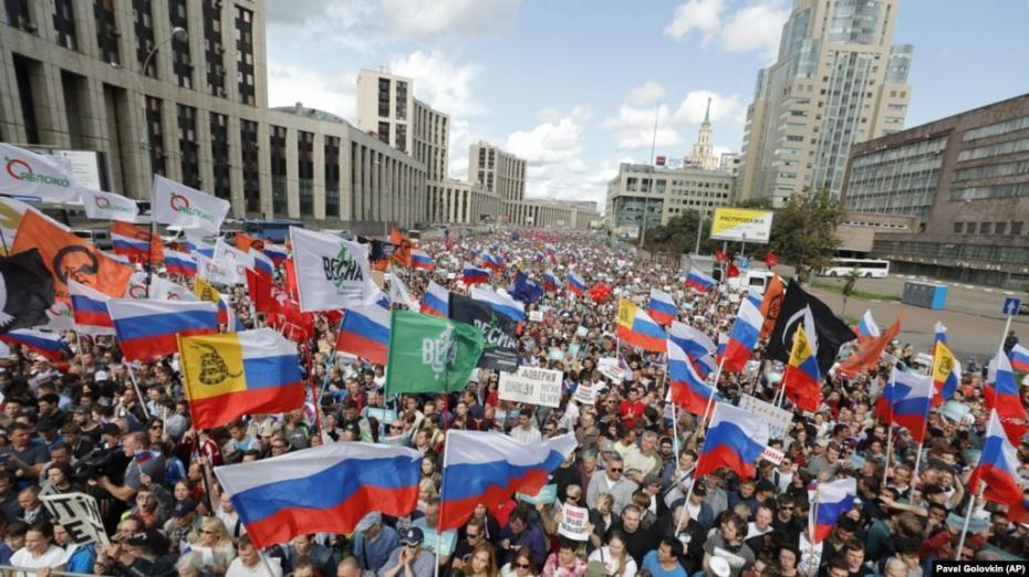 Протесты в Москве становятся все масштабнее, на сегодняшний митинг вышли 40 тысяч человек