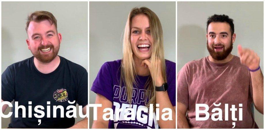 (видео) Кишинеу, Бэлць и Шолдэнешть: шесть американцев пытаются произнести названия населенных пунктов Молдовы