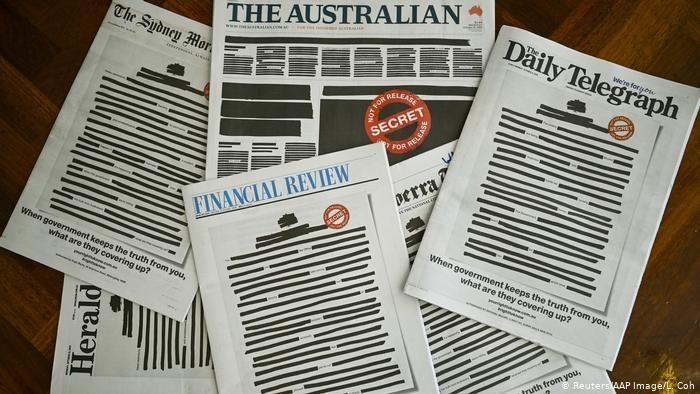 Австралия: ведущие газеты страны в знак протеста вышли с закрашенными передовицами