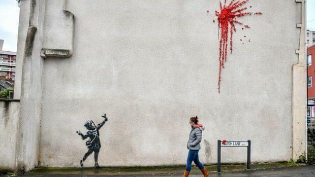 (фото) Британец Бэнкси создал новое граффити ко Дню всех влюбленных
