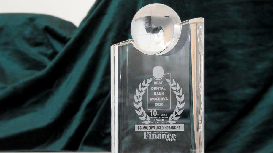 Moldova Agroindbank получил трофей «Best Digital Bank Moldova 2020» за самый оцифрованный банк страны