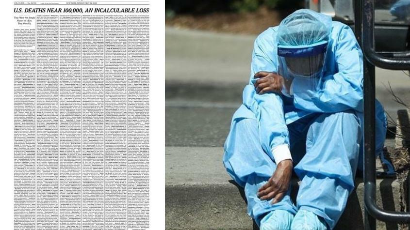 The New York Times посвятила первую полосу жертвам коронавируса в США, поименно перечислив тысячу человек, умерших от ковида