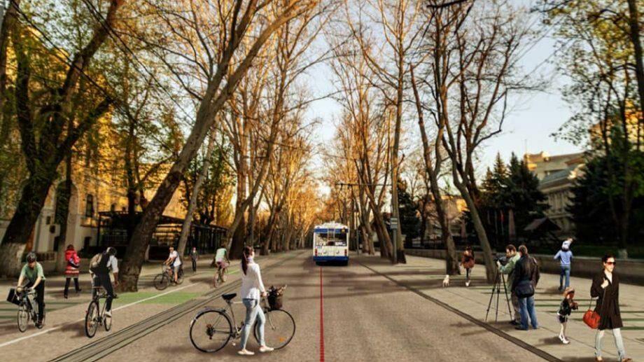 (doc) Одну из улиц Кишинева предлагают трансформировать в «Зеленый коридор»